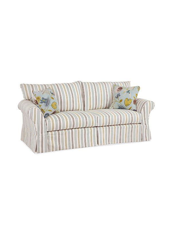 Shoreline Slipcovered Furniture, Chatham Slipcovered Sofa, Two Seats, Knife  Ear Back Cushions,