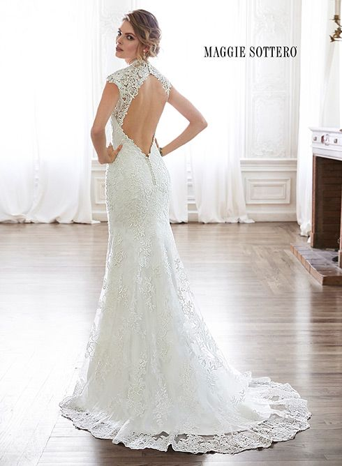 Lace Slim A Line Wedding Dress With Plunging Neckline Sleeves And Daring Keyhole Back Melitta Marie By Maggie Sottero