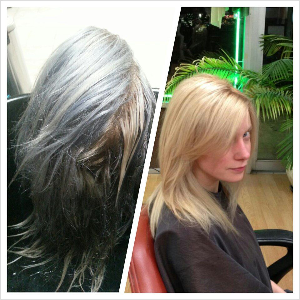 Blonde Hair Dye Turned Blue Before And After Corrective Color By Me Platinum Blonde