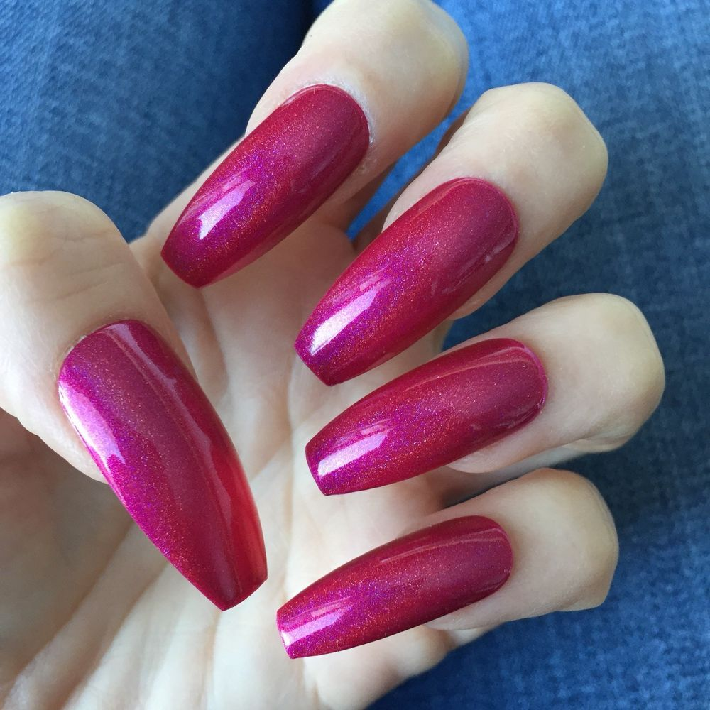 Set of 20 Holographic Glitter Pink Long Coffin Press-on Nails Claws ...