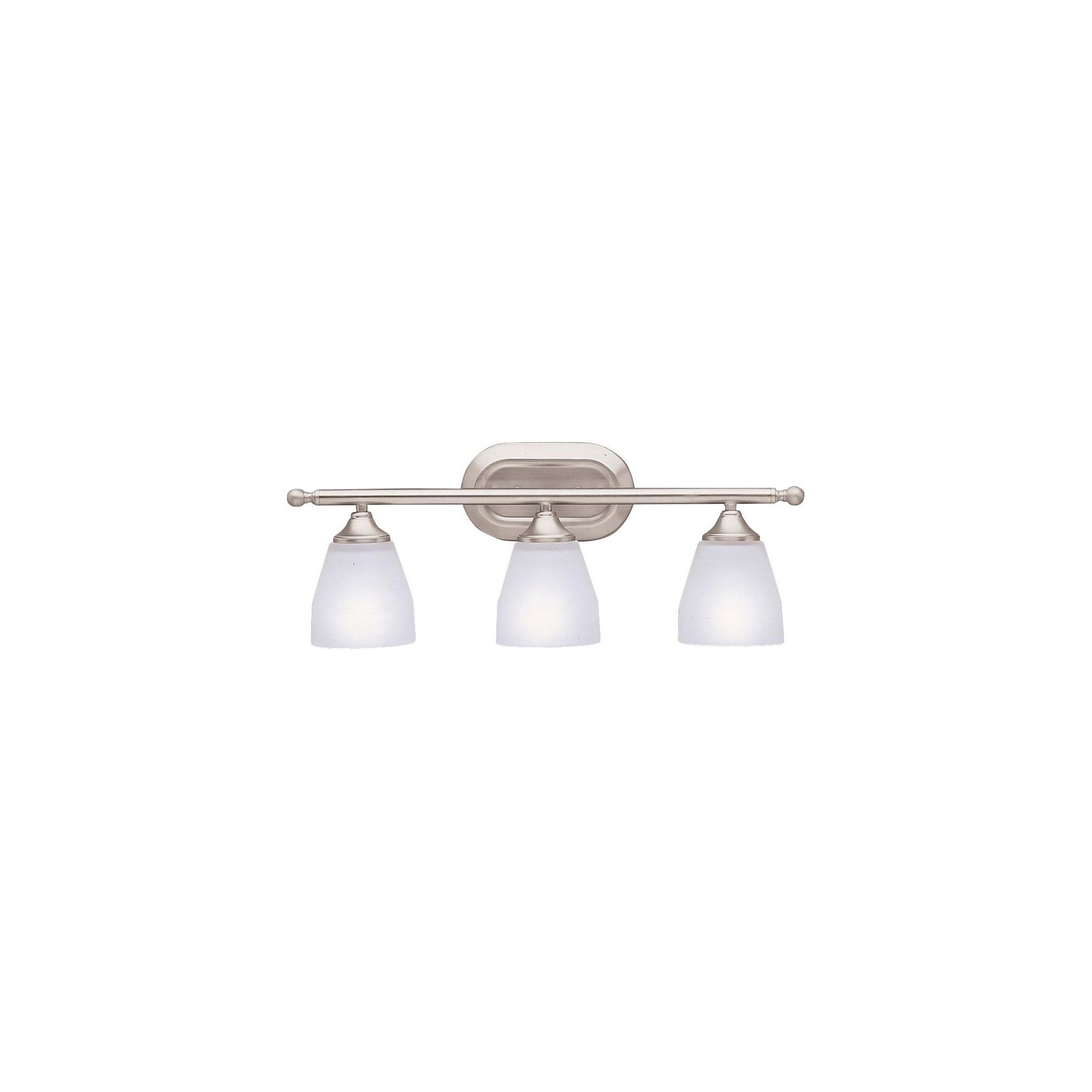 """Photo of Kichler 5448 Ansonia 3 Light 23 """"Wide Vanity Light bathroom tap with etched glass shades – brushed nickel"""