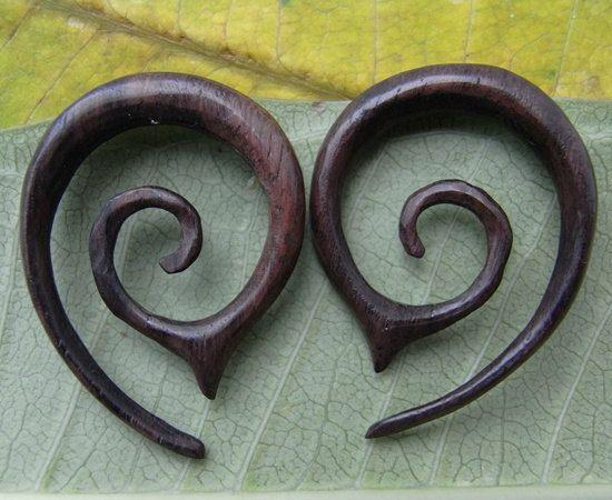 1 PAIR SONO WOOD oval spiral 6 Gauge 4mm Size | Ear Jewelry | Ear