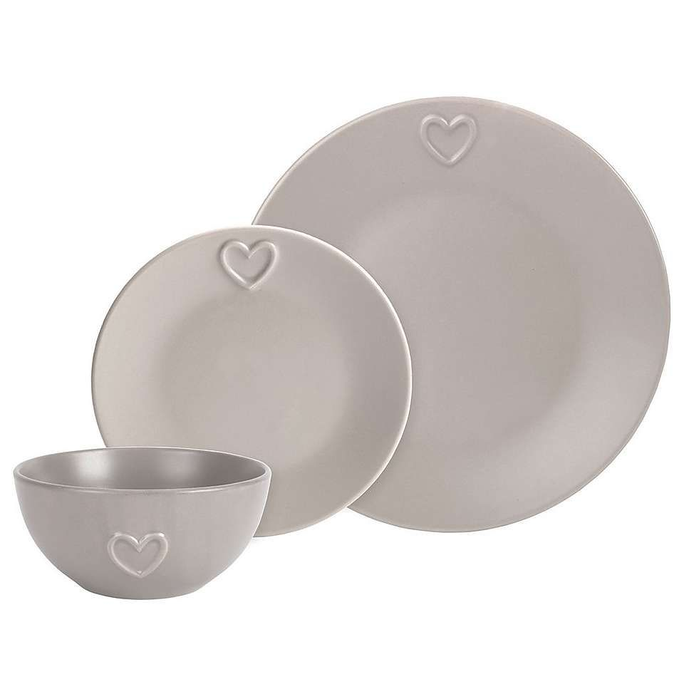 Taupe Country Heart Dinnerware Collection | Dunelm  sc 1 st  Pinterest & Taupe Country Heart Dinnerware Collection | Dunelm | dishes I love ...