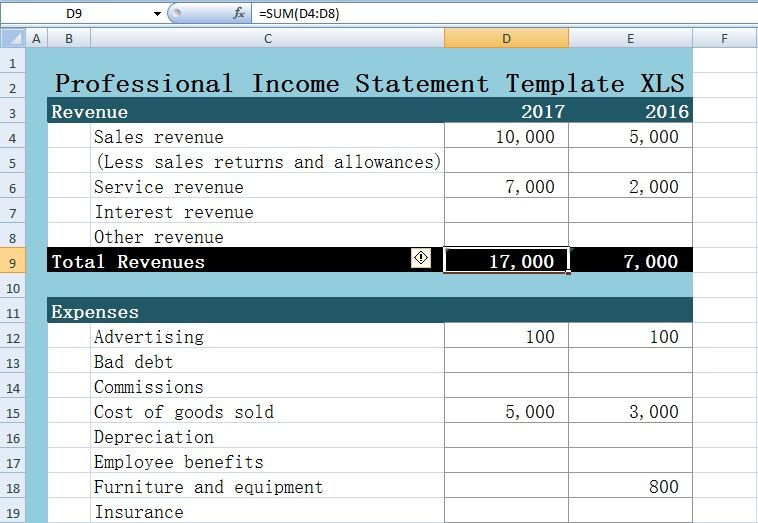 professional income statement template excel xls excel xls
