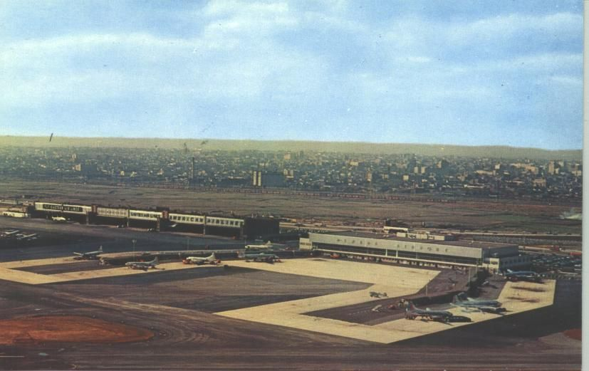 Newark Airport in the 1950's and probably shortly after the new terminal was opened for business. The 1930's terminal is out of view to the right.