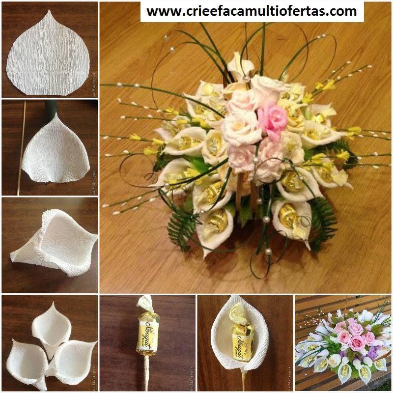 Flores De Papel Crepom Com Bombons Dentro Flores De Papel Diy