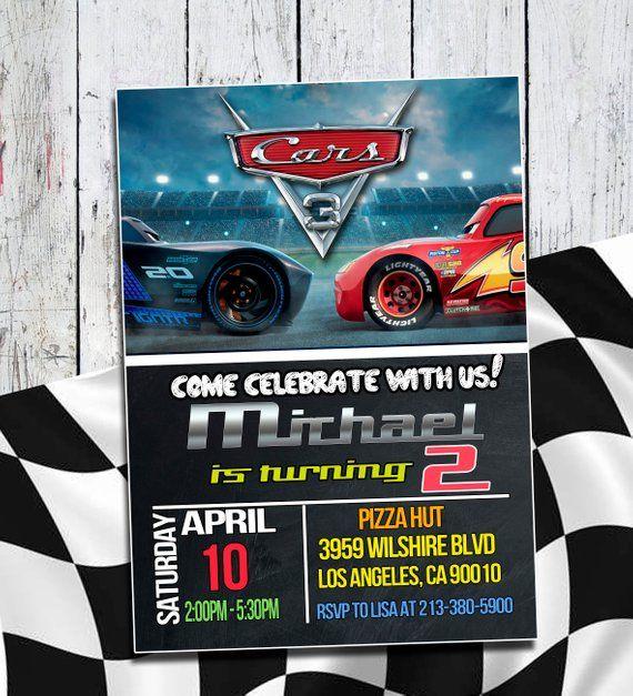 Disney Cars 3 Invitation Birthday Ca