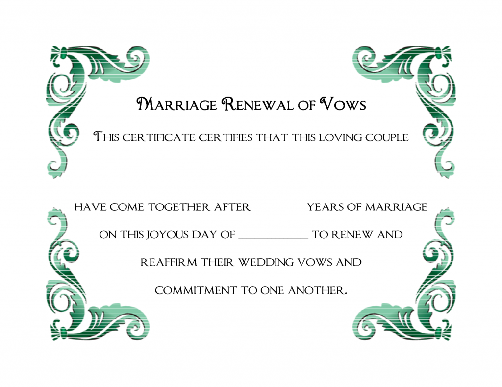 a simple green frame of printable wedding vows renewal a simple green frame of printable wedding vows renewal certificate template
