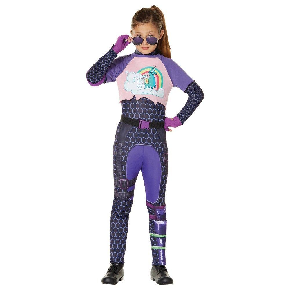 Girls Teen Fortnite Brite Bomber Gaming Halloween Fancy Dress Costume Outfit