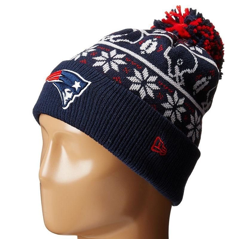 new styles c0e6f d9bca Mens   Womens New England Patriots New Era NFL Sweater Chill On-Field  Sports Rib Knit Pom Pom Beanie Hat - Navy