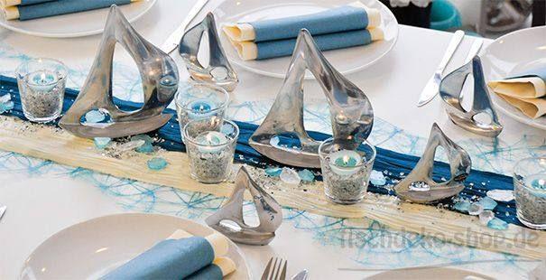 Tischdeko konfirmation blau grün  Tischdekoration in Türkis mit Segelschiffen | Tischdeko Kommunion ...