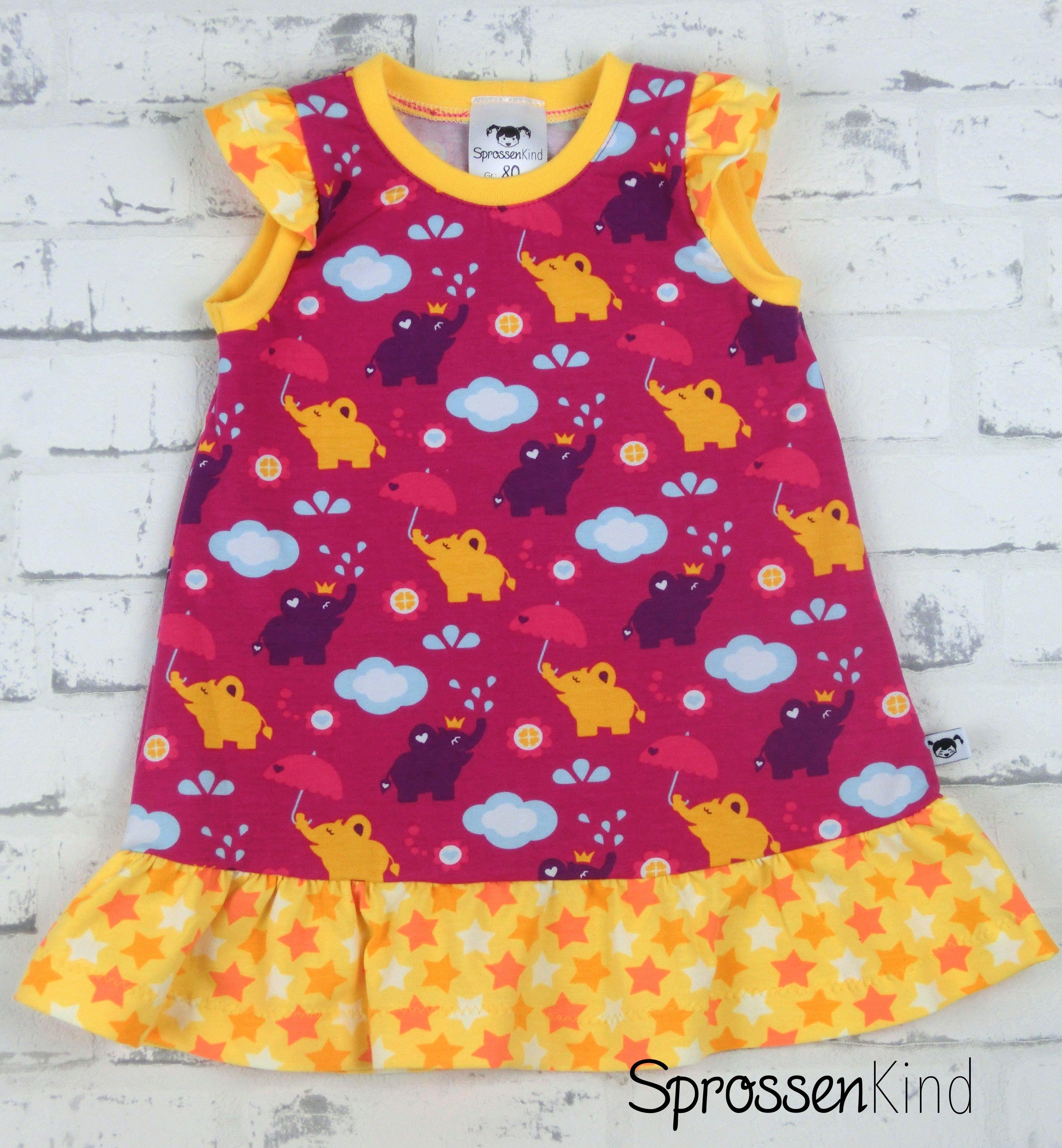 handmade Kleid mit süßen Elefanten, Einzelstück   Kinder ...