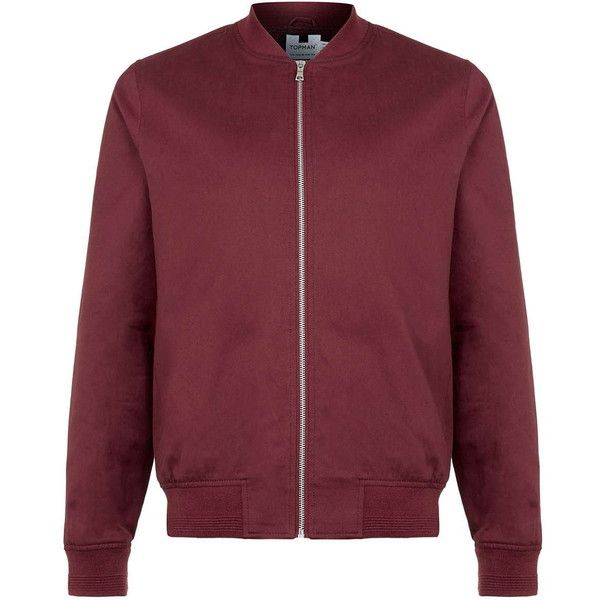 TOPMAN Burgundy Cotton Bomber Jacket ($58) ❤ liked on Polyvore featuring men's fashion, men's clothing, men's outerwear and men's jackets