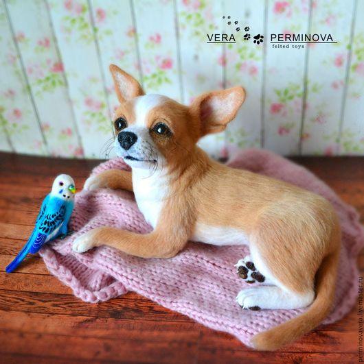 Collectible dolls handmade.  Chihuahua named Grace and budgerigar named Archie.  Perminov Vera (PerminovaVera).  Arts and crafts fair.