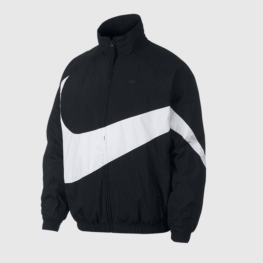 Nike Men S Nsw Swoosh Woven Full Zip Jacket Black White Jackets Zip Jackets Nike