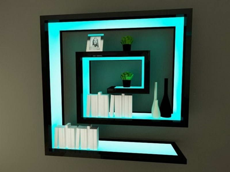 Black Wall Shelves With Blue Cyan Light Fancy Decoration Of Black Wall Shelves