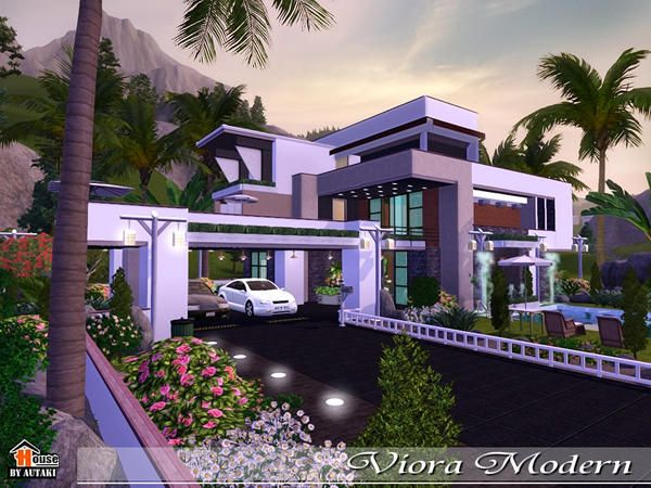 Viora Modern House by Autaki - Sims 3 Downloads CC Caboodle | Sims 4 ...