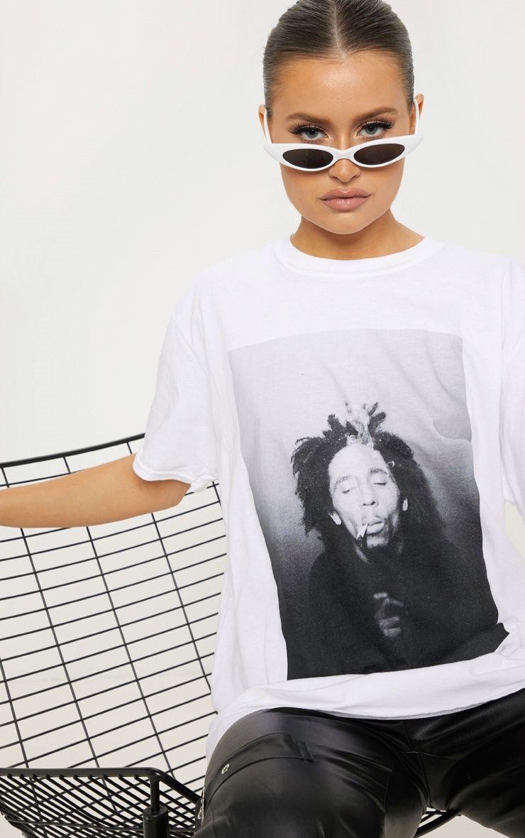 Bob Marley White Printed Oversized T Shirt Bob Marley T Shirts How To Roll Sleeves Bob Marley [ 1180 x 740 Pixel ]