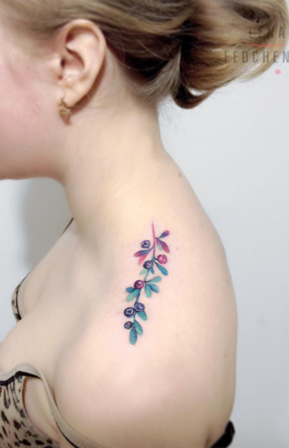 7fc3dd81e Blueberry Tattoo | Girl Tattoos | Beautiful flower tattoos, Shoulder ...