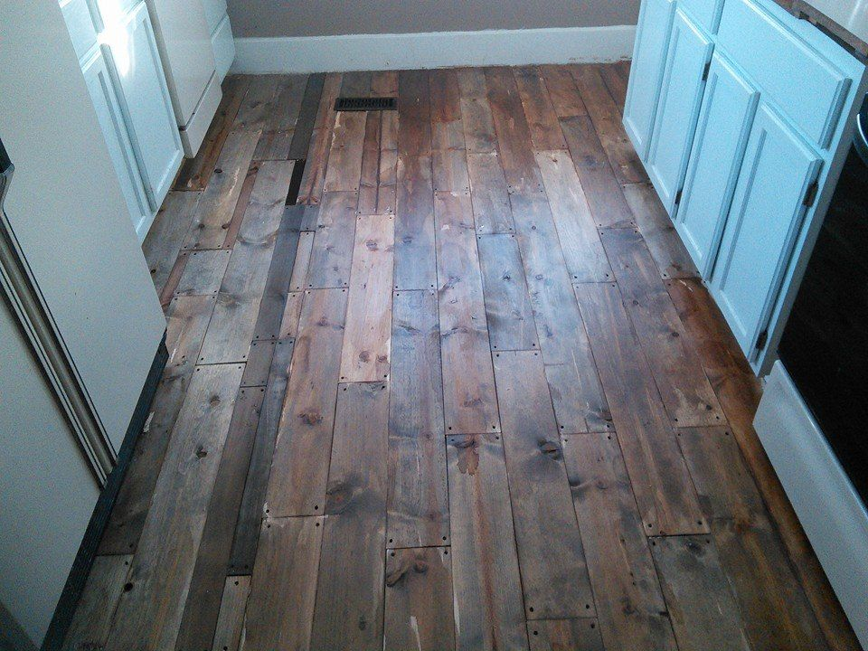 My Finished Kitchen Floors Pine Boards Stained The
