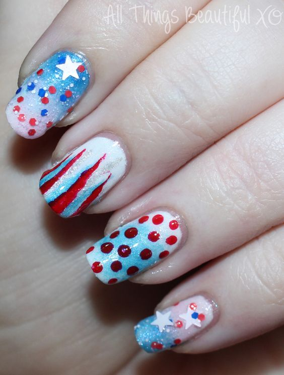 4th of July USA Nail Art with Stars, Glitter, & Ombre with ...