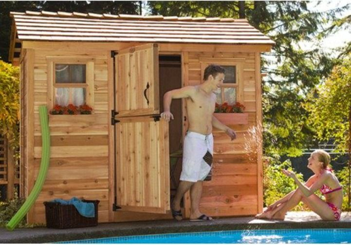 Garden shed as a pool house designer tips pinterest for Pool house shed ideas