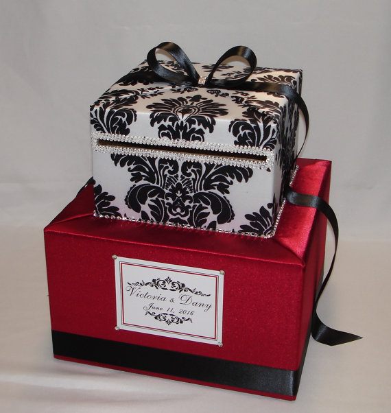 Crimson RED and BLACK and WHITE Damask Card by ExoticWeddingBoxes