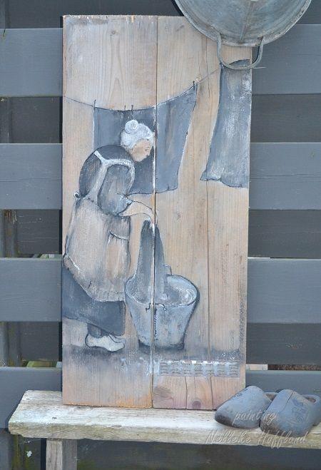 Ongebruikt Schilderij op steigerhout, voor buiten   Hout schilderijen, Pallet FQ-74
