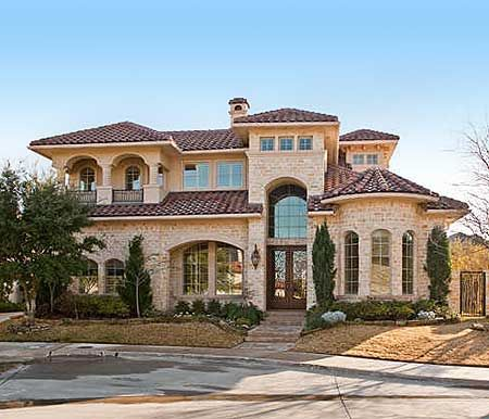 Mediterranean homes plans on pinterest mediterranean for Two story mediterranean house plans