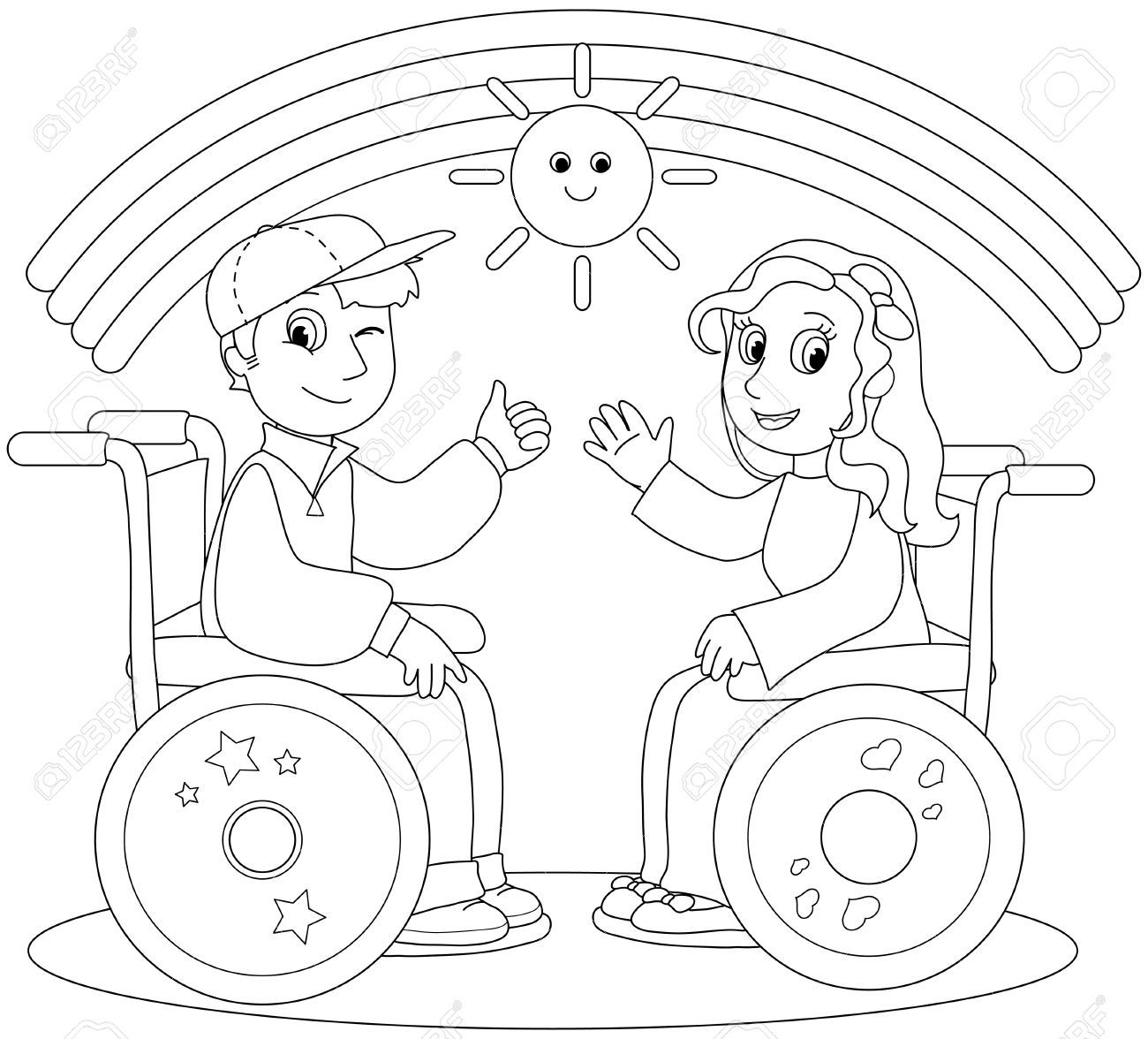 15173869-Coloriage-illustration-d-un-gar-on-et-une-fille-souriante ...