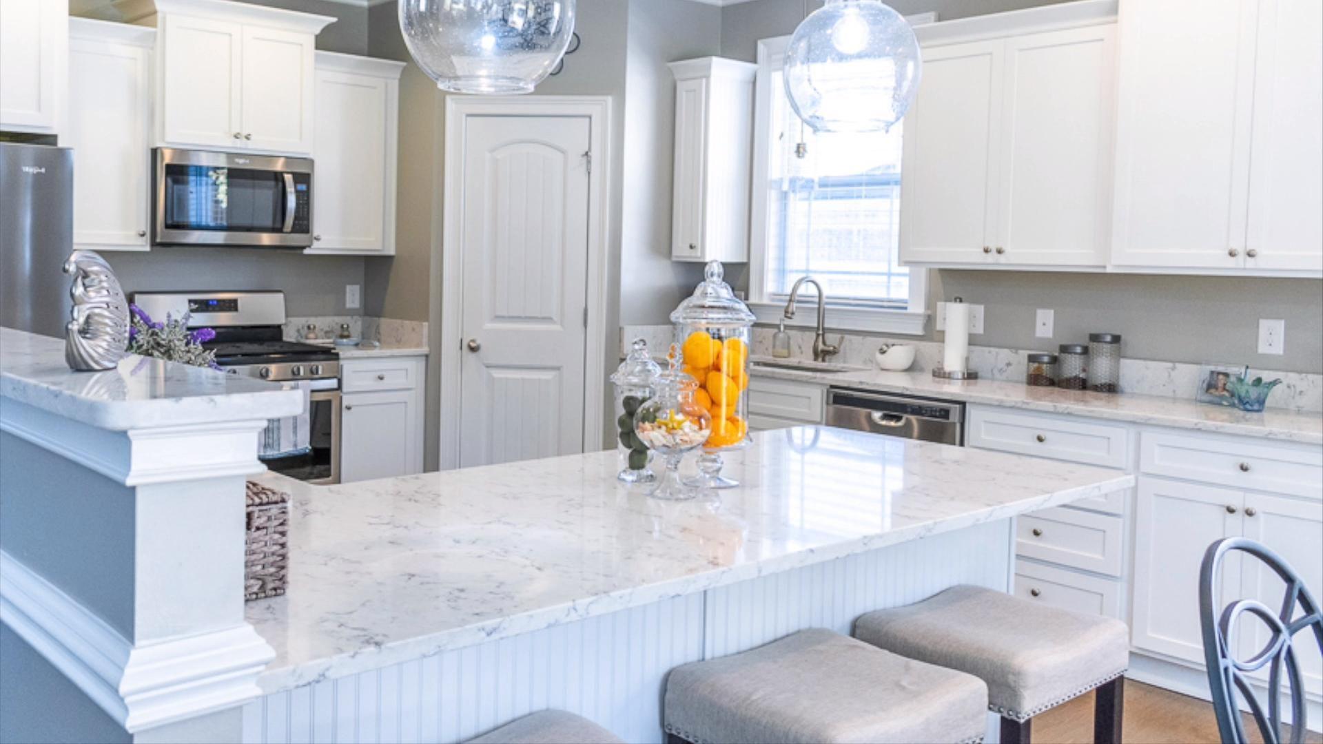 Arctic Ivory Quartz Kitchen Countertops