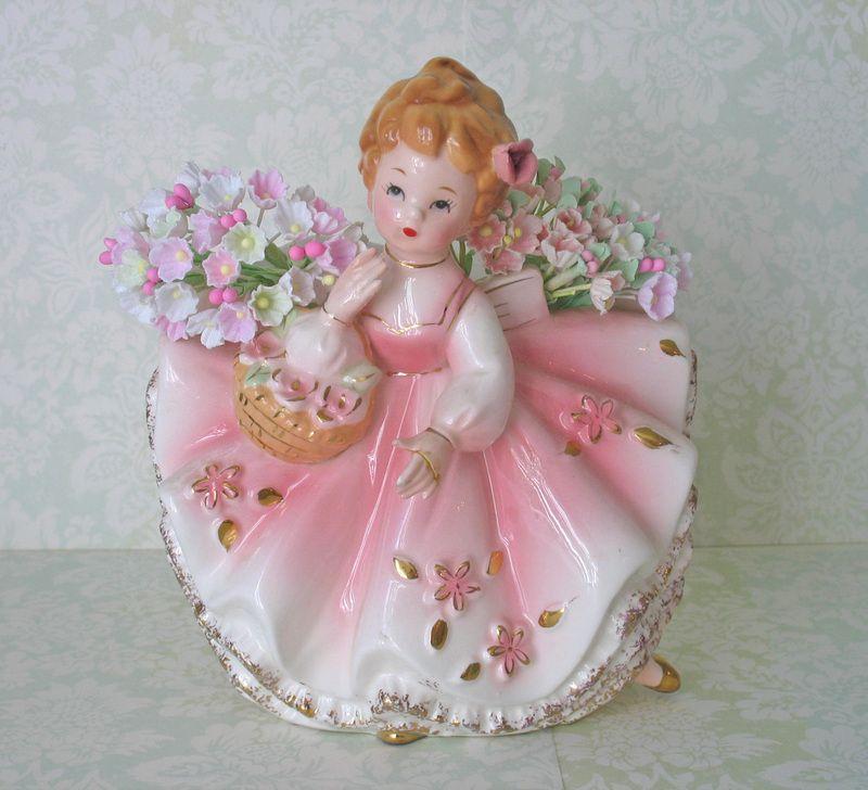 Vintage Pink Glass Lady Planter