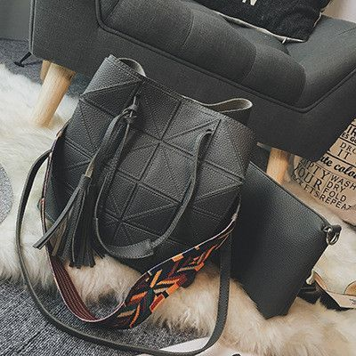 Composited New women shoulder bags Plaid design 2pcs handbag female tassel bag vintage crossbody bag black Totes