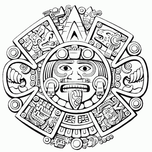 Coloring Page Aztec Mythology Gods And Goddesses 60 Printable Coloring Pages Elegir El Disento Envir In 2020 Aztec Art Aztec Calendar Aztec Tattoo Designs
