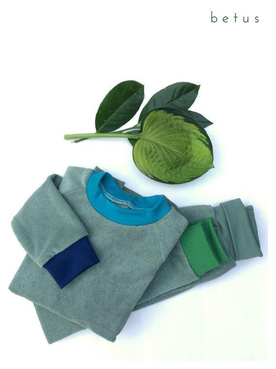 Bio Baumwolle Frottee Schlafanzug Grun Bunt Frottee Grun Kin