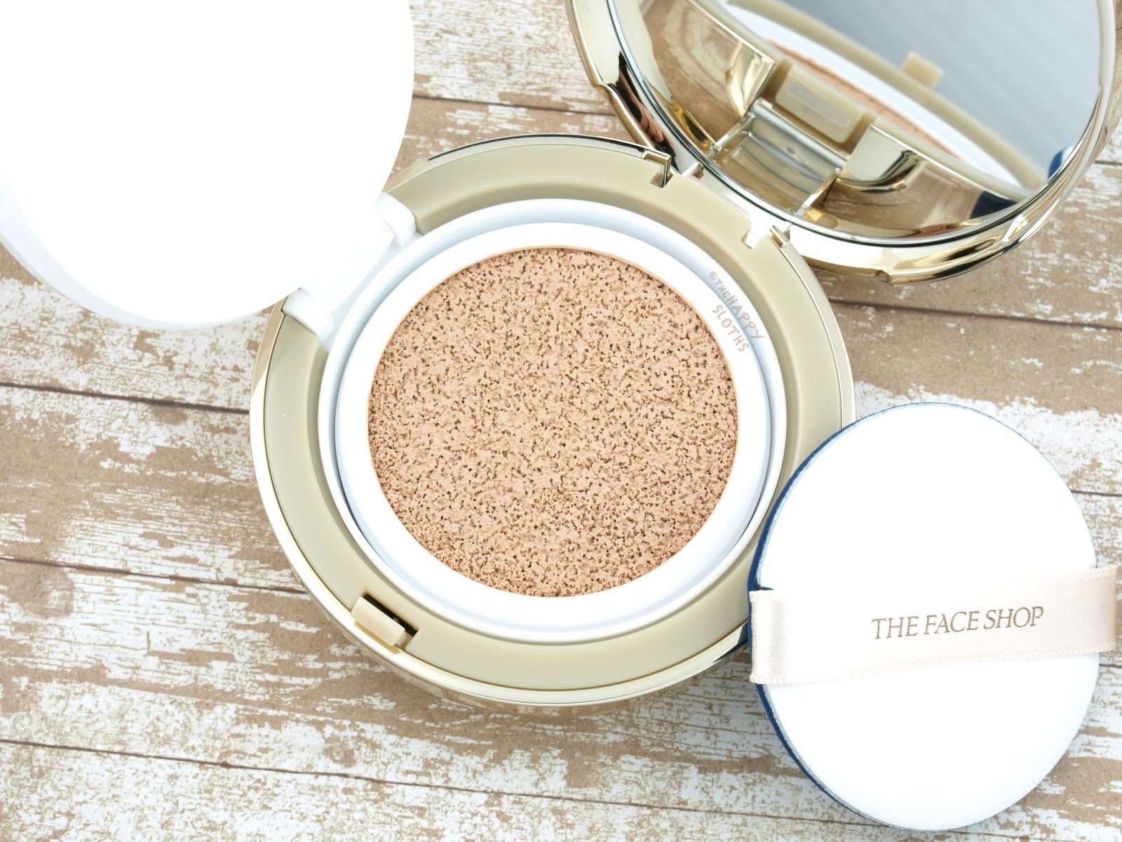 THE FACE SHOP Miracle Finish CC Intense Cover Cushion Foundation in V201 Apricot Beige: Review and Swatches