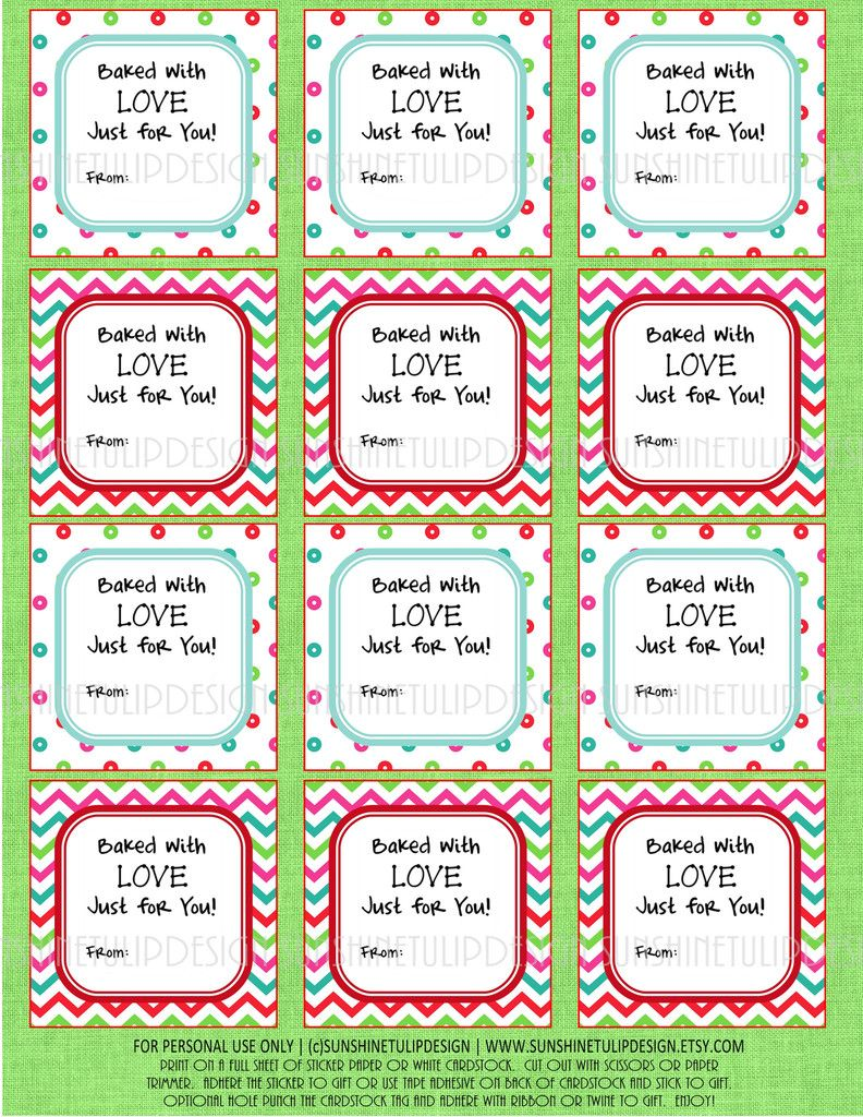 Printable christmas food labels baked with love christmas gift printable christmas food labels baked with love christmas gift tags sticker labels negle Gallery