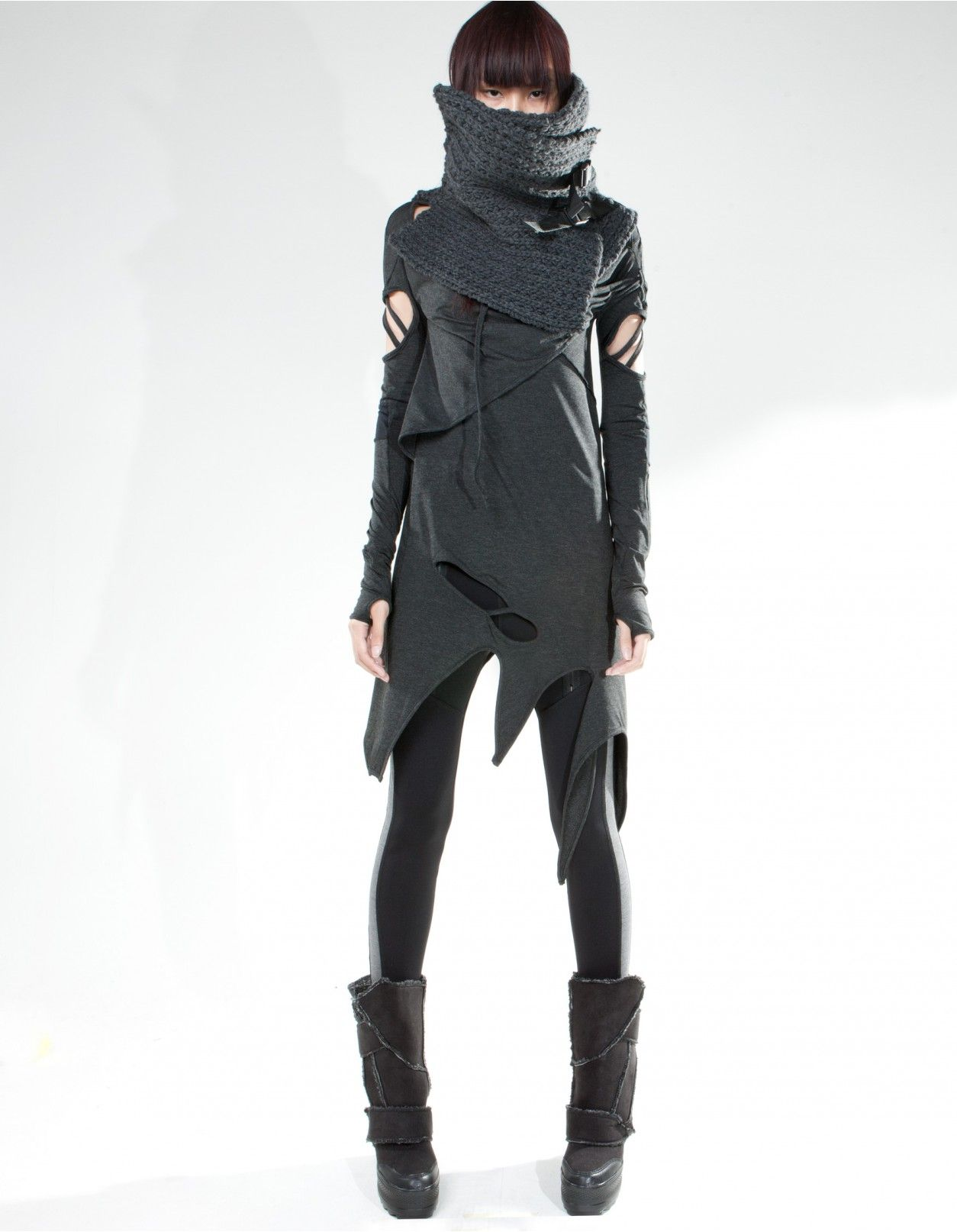 collar straps grey  accessories  demowoman  demobaza