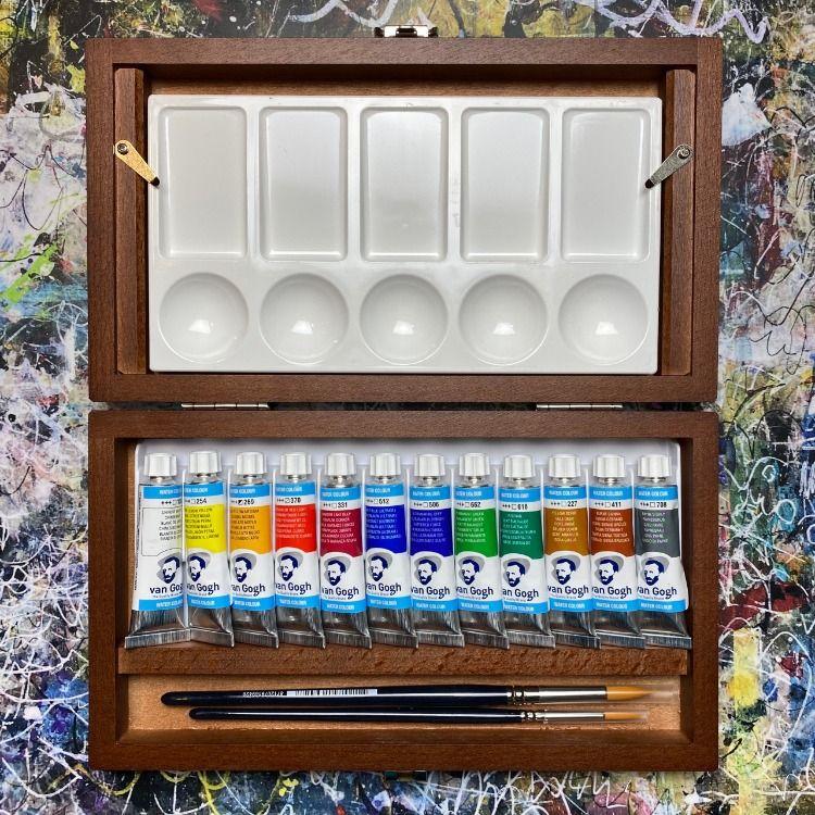 Van Gogh Juego De Acuarelas 24 Colores Estuche De Madera Con