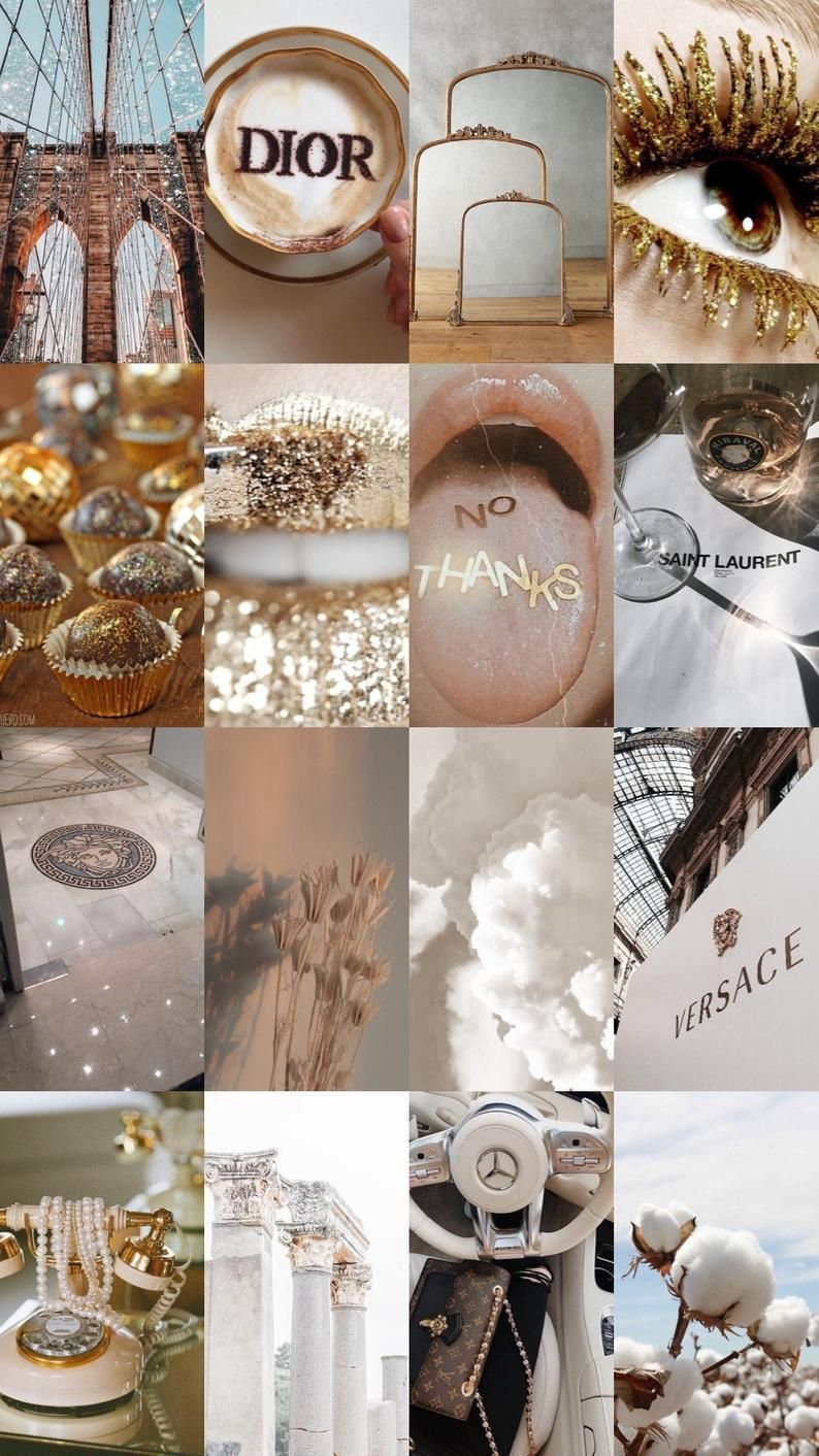 32 Piece White And Gold Picture Collage Aesthetic Desktop Wallpaper Aesthetic Pastel Wallpaper Iphone Wallpaper Vintage