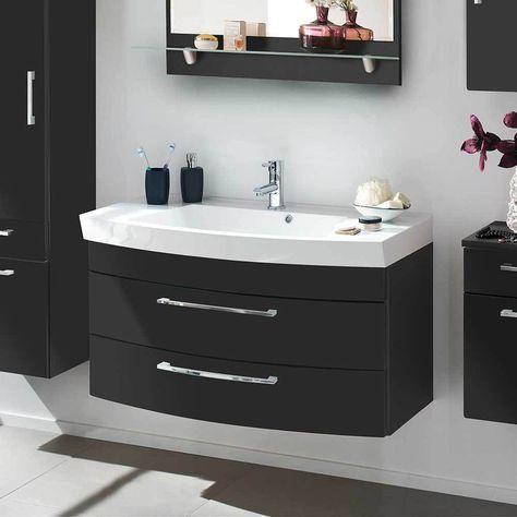 Badezimmer Waschbeckenschrank in Anthrazit Hochglanz 100 cm breit ...