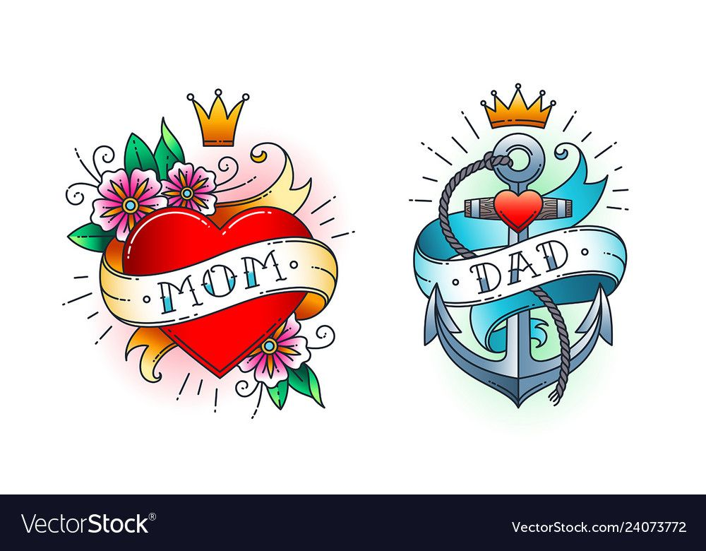 Photo of Set of Classic tattoo – heart with flowers and word mom on ribbon. Anchor with r…
