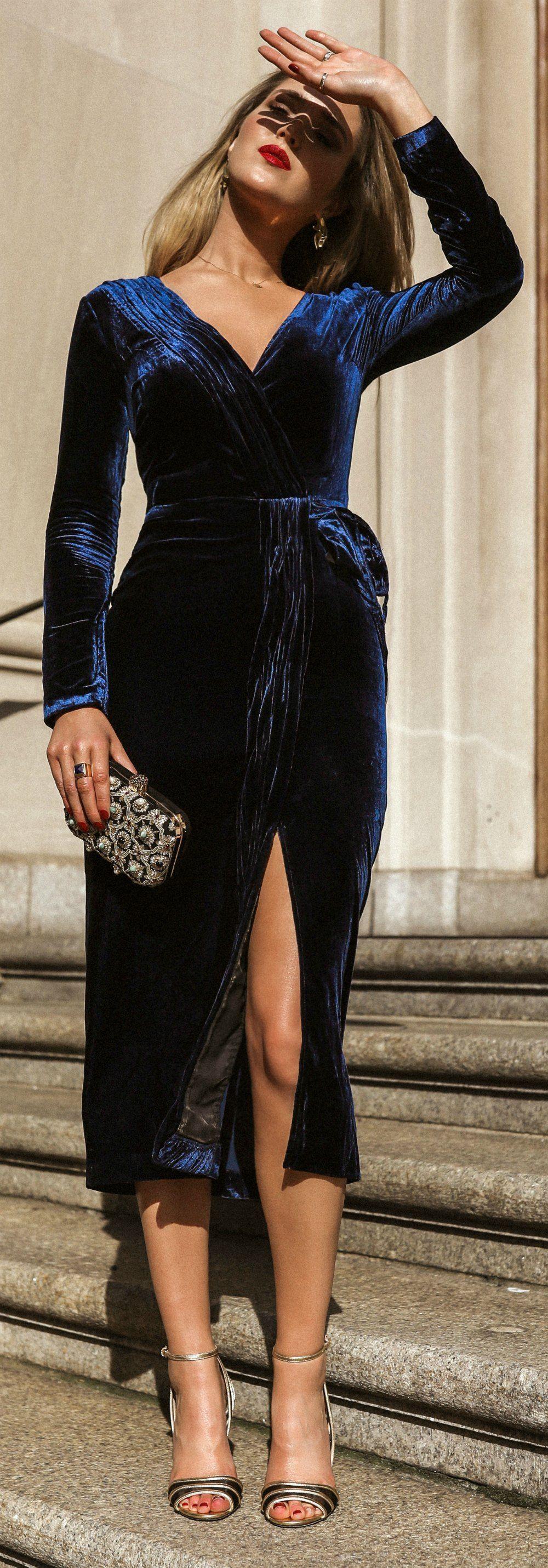 Click For Outfit Details Blue Velvet V Neck Wrap Dress With Self Belt At Waist Black Gol Cocktail Attire Cocktail Attire For Women Winter Wedding Attire [ 2861 x 1000 Pixel ]