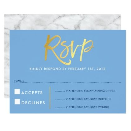 Rsvp reply response faux gold type cornflower blue card rsvp rsvp reply response faux gold type cornflower blue card stopboris Choice Image