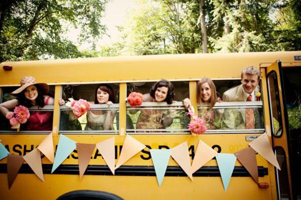 School Bus Wedding Transportation And Photography Teacher Themed