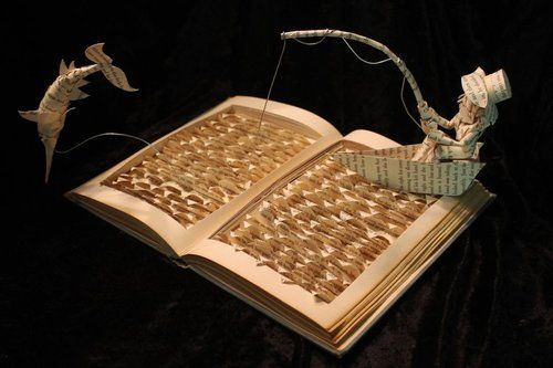 The Old Man and the Sea book sculpture by Jodi Harvey-Brown.