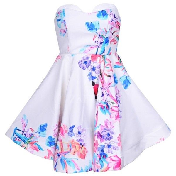 9d36017f7c1 Yoins Random Floral Tube Top Open Back Summer Mini Dress with Zip Back  Fastening