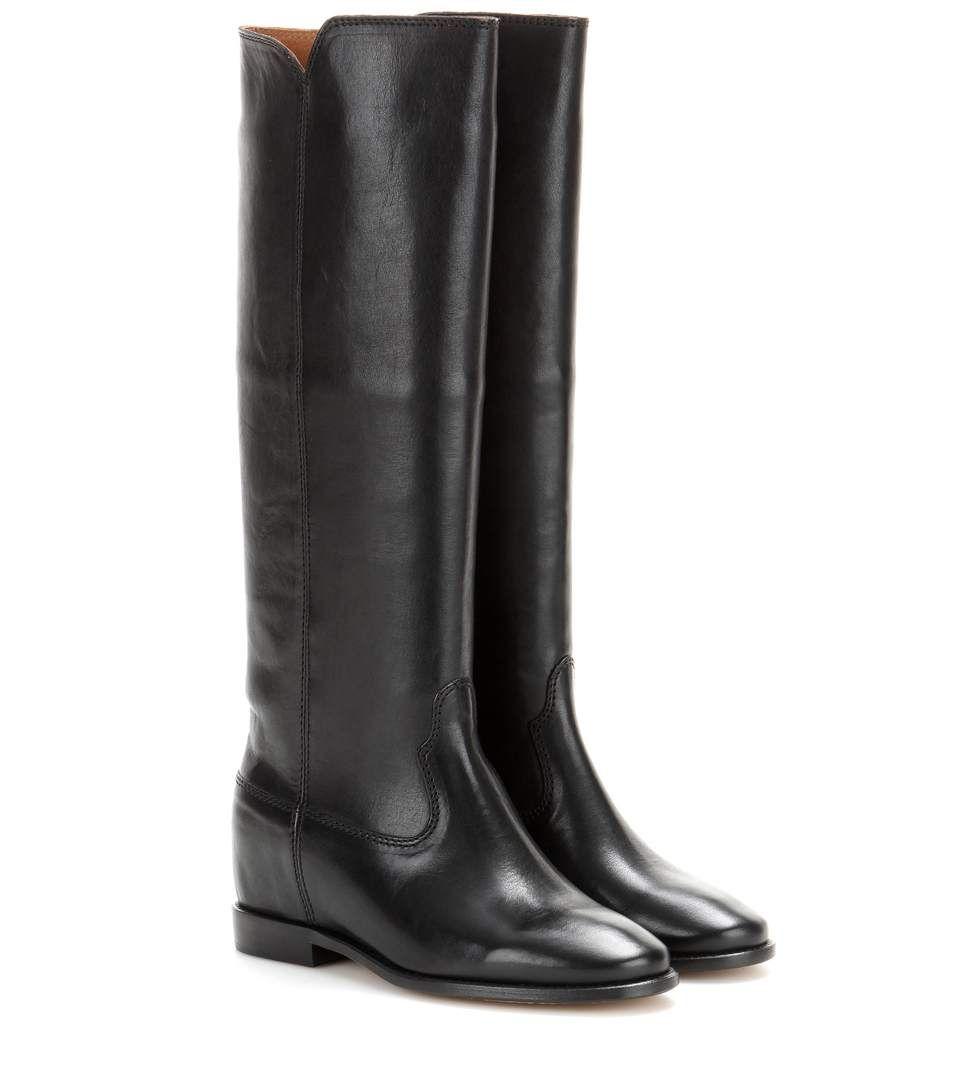 c5a213b62010c Bottes en cuir noir à talons dissimulés - isabel marrant   shoes ...