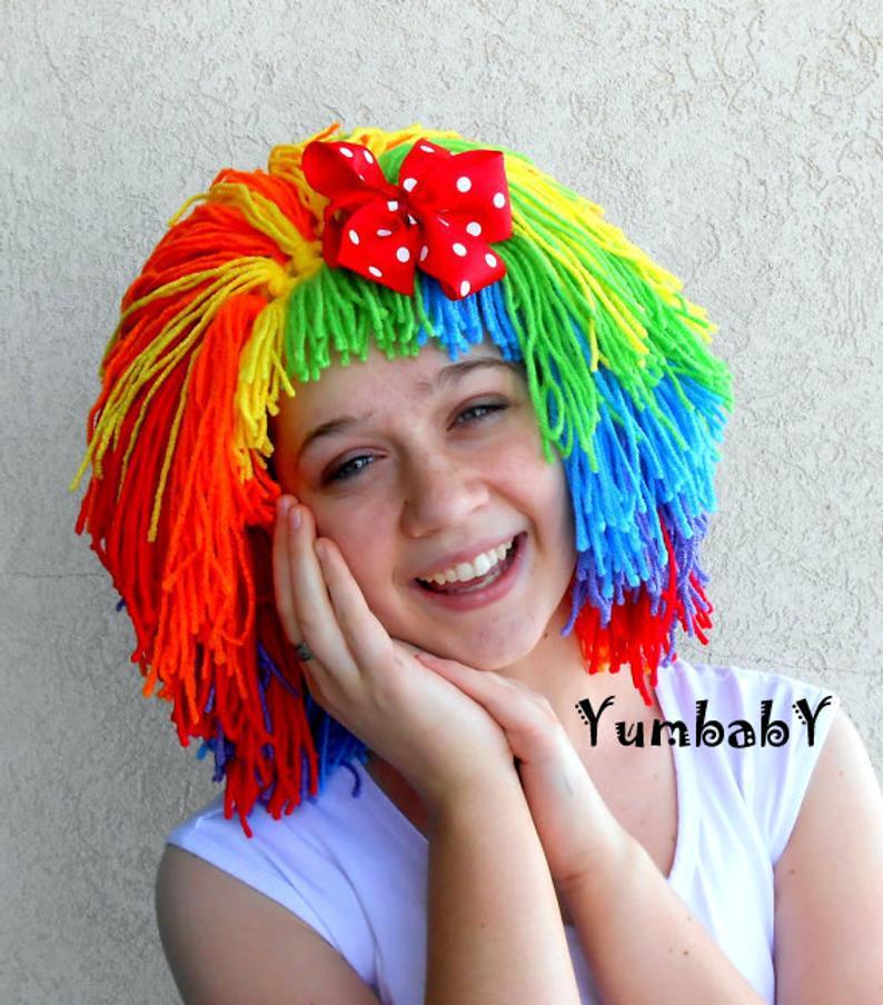 Clown Wig Halloween Costume Clown Costume Orange Red Green Etsy In 2020 Clown Wig Clown Costume Yarn Wig
