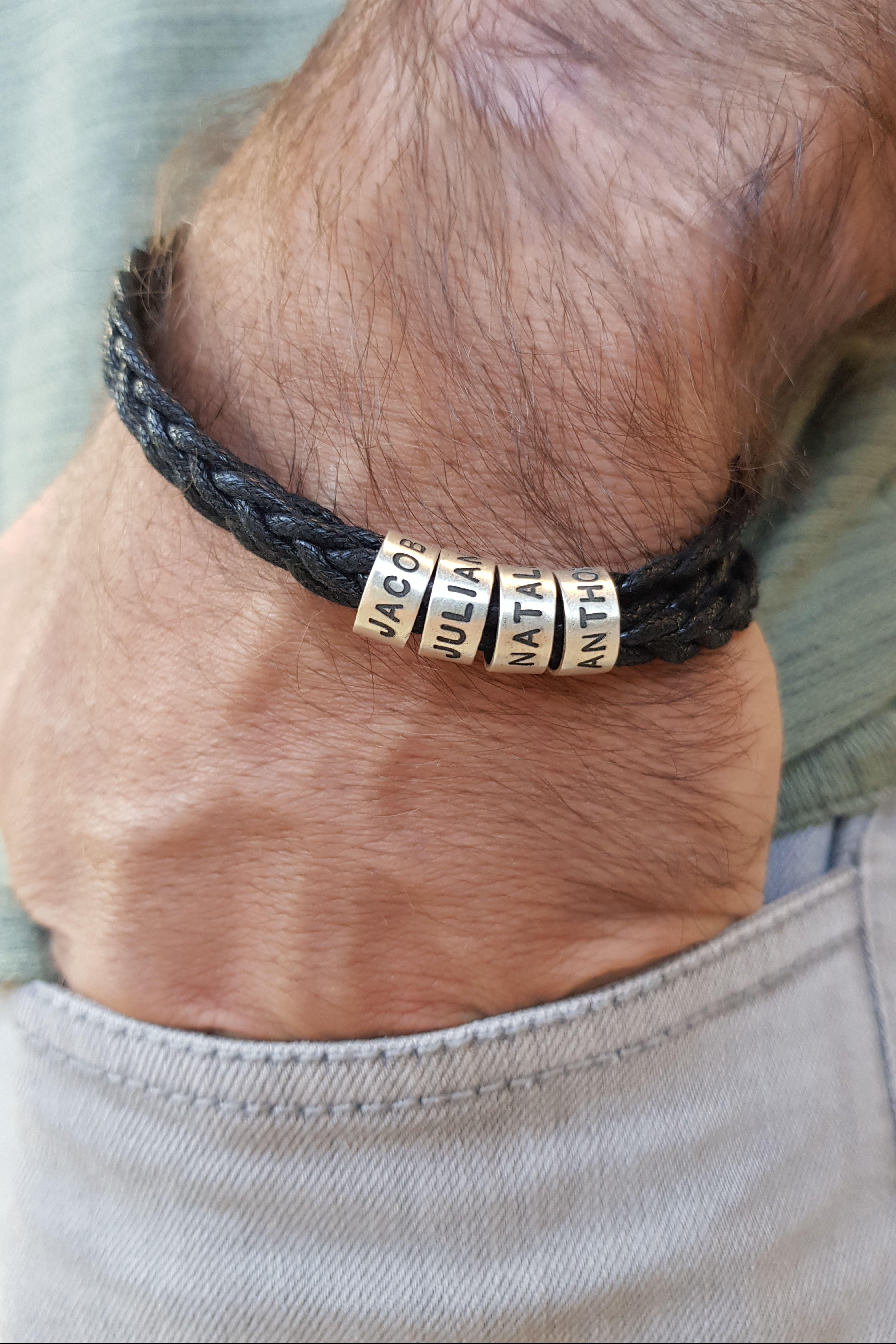 Men/'s Custom Bracelet Message Him Gift Personalized Bracelet Leather Men Gift For Men/'s Husband Bracelet Father Day Gift Boyfriend Bracelet